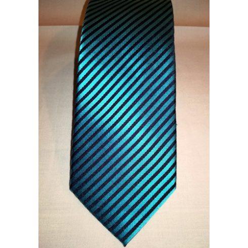 Tengerzöld alapon fekete csíkos selyem nyakkendő