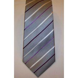 2941703c7e Szürke alapon világoslila és sötétlila csíkos selyem nyakkendő
