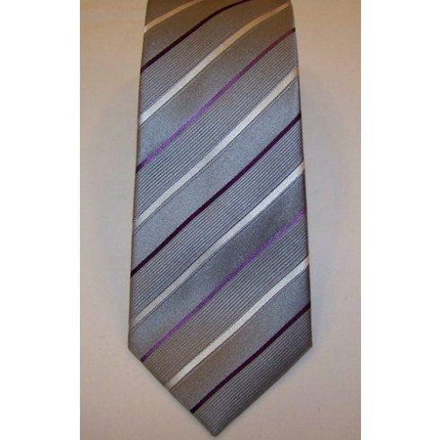 Szürke alapon világoslila és sötétlila csíkos selyem nyakkendő