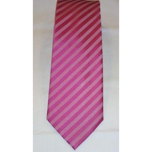 Magenta alapon világos rózsaszín csíkos selyem nyakkendő