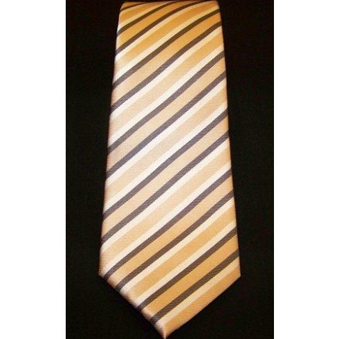 Barackszín , szürke és fehér csíkos selyem nyakkendő