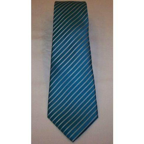 Türkízkék alapon világoskék csíkos selyem nyakkendő