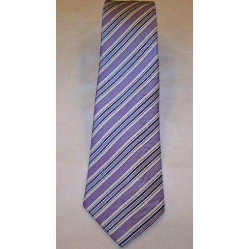 Lila alapon olajkék és fehér csíkos selyem nyakkendő