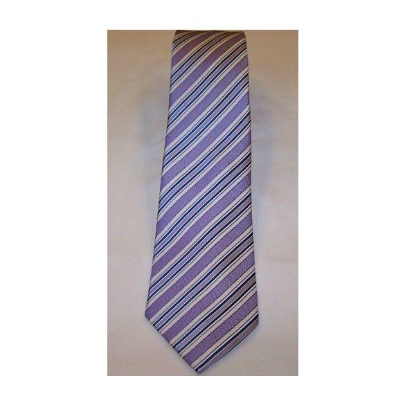 8ff7edcd08 Lila alapon olajkék és fehér csíkos selyem nyakkendő - Aranykéz Divatáru