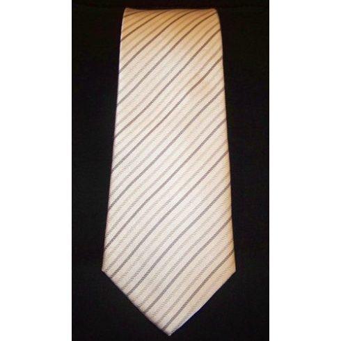 Fehér alapon szürke csíkos selyem nyakkendő