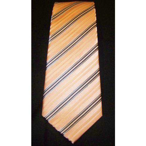 Barackszín alapon szürke csíkos selyem nyakkendő