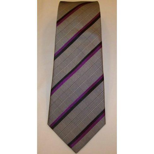 Szürke alapon sötétlila és fekete csíkos selyem nyakkendő