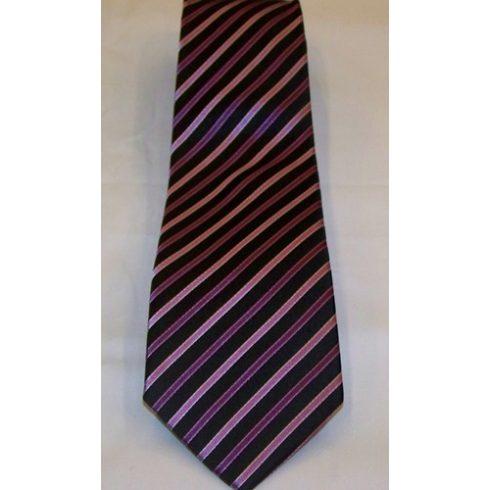 Fekete alapon rózsaszín és lila csíkos selyem nyakkendő