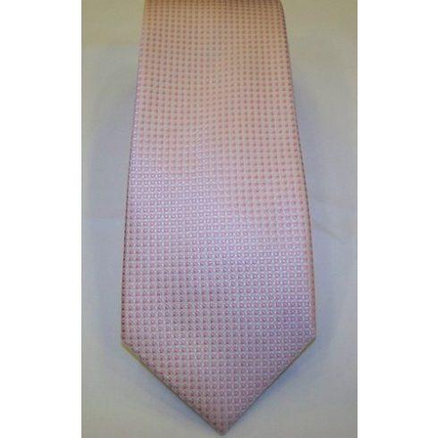 Fehér alapon rózsaszín mintás selyem nyakkendő
