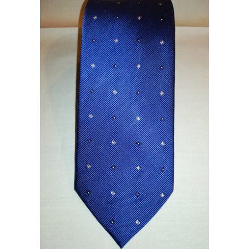 Királykék alapon sötétkék, szürke és fehér mintás selyem nyakkendő