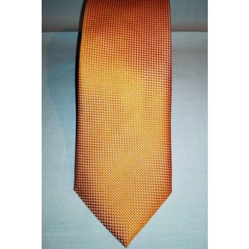 Narancssárga alapon fehér mintás selyem nyakkendő
