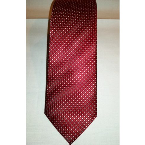 Bordó alapon piros és fehér mintás selyem nyakkendő