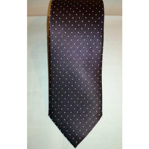 Sötétbarna alapon fehér mintás selyem nyakkendő