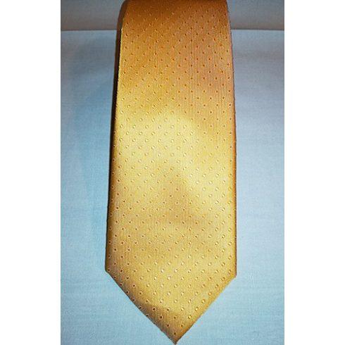 Aranysárga, anyagában pöttyös selyem nyakkendő
