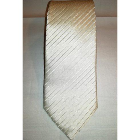 Krémszín, anyagában csíkos selyem nyakkendő