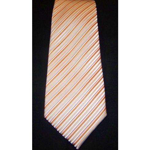 Narancssárga, fehér és barack csíkos poliészter nyakkendő