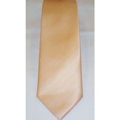 Barackszín, anyagában csíkos poliészter nyakkendő