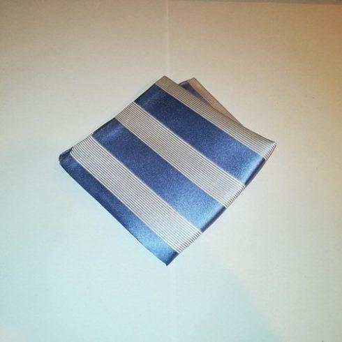 Acélkék alapon fehér csíkos selyem díszzsebkendő