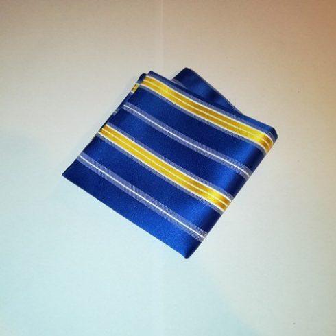 Királykék alapon sárga és fehér csíkos selyem díszzsebkendő