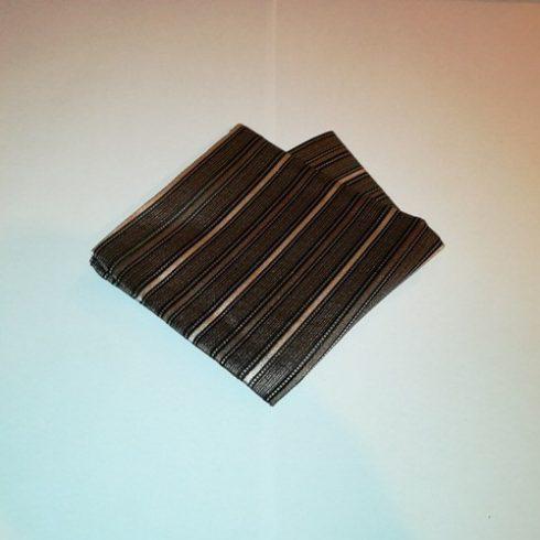 Sötétbarna alapon krémszínű csíkos selyem díszzsebkendő