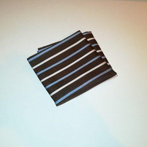 Sötétbarna alapon kék és fehér csíkos selyem díszzsebkendő