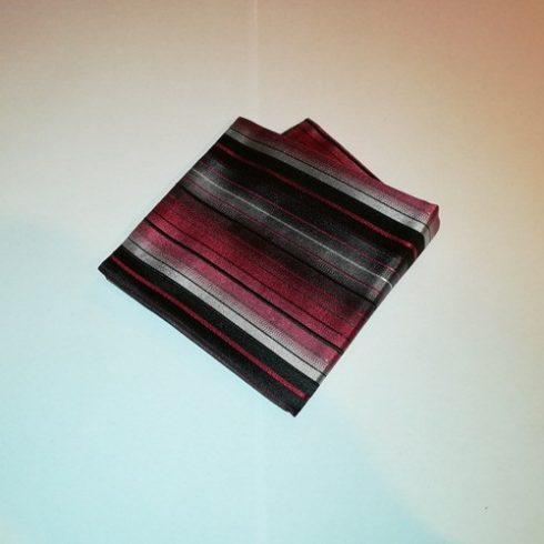 Fekete alapon piros, bordó, szürke és fehér csíkos selyem díszzsebkendő