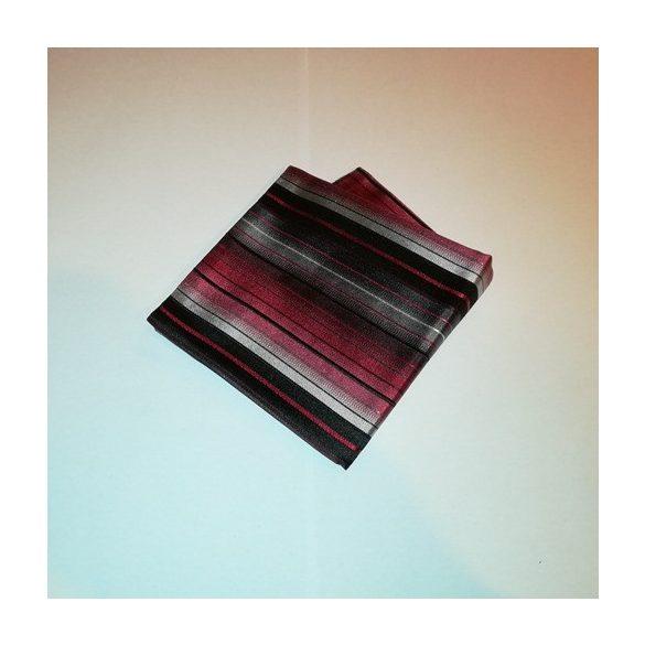 267eb1c958 Fekete alapon piros, bordó, szürke és fehér csíkos selyem díszzsebkendő