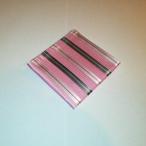 Rózsaszín alapon piros, szürke és krémszínű csíkos selyem díszzsebkendő