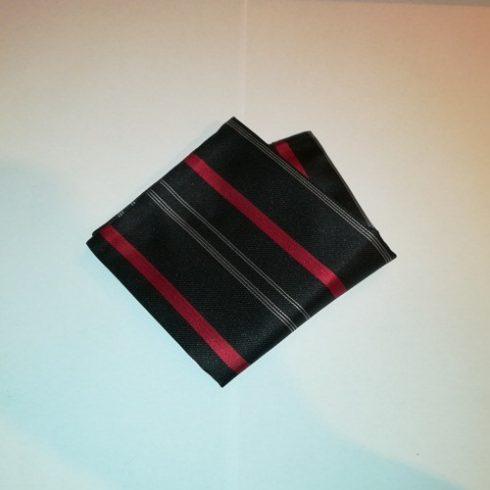 Fekete alapon piros és fehér csíkos selyem díszzsebkendő
