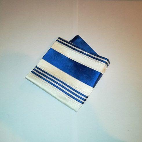 Törtfehér alapon királykék csíkos selyem díszzsebkendő