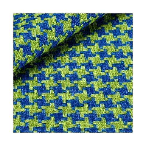 Sötétkék alapon zöld tyúkláb mintás len díszzsebkendő