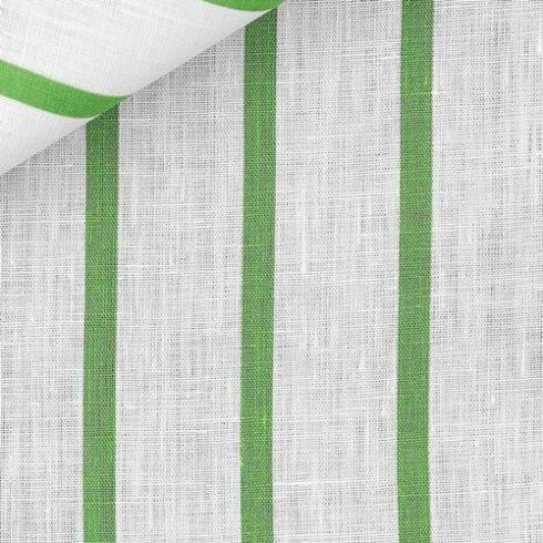 Fehér alapon zöld csíkos len díszzsebkendő