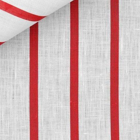 Fehér alapon piros csíkos len díszzsebkendő