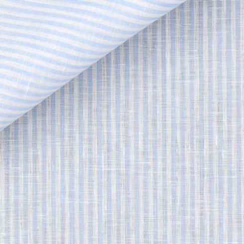Fehér alapon világoskék csíkos len díszzsebkendő
