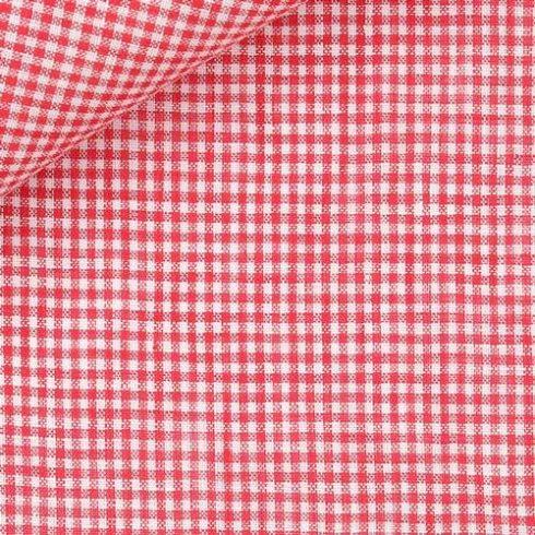 Piros alapon fehér kockás len díszzsebkendő