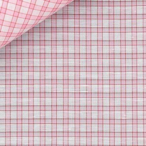 Fehér alapon rózsaszín mintás len díszzsebkendő