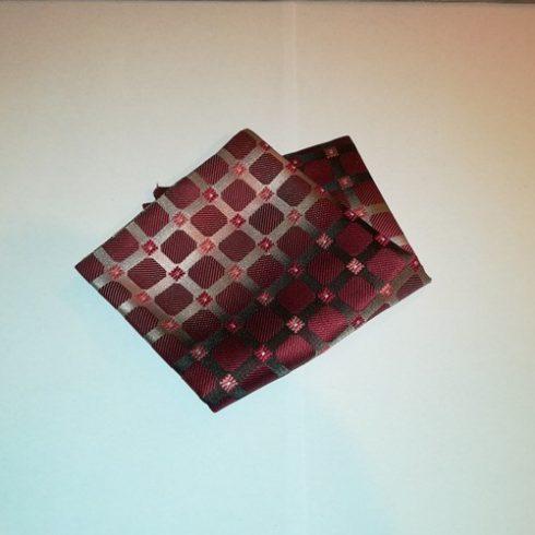 Bordó alapon szürke, rózsaszín, piros és fehér mintás selyem díszzsebkendő