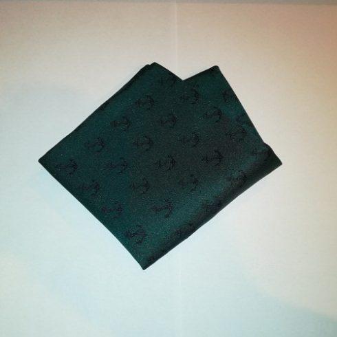 Sötétzöld alapon sötétkék vasmacska mintás selyem díszzsebkendő