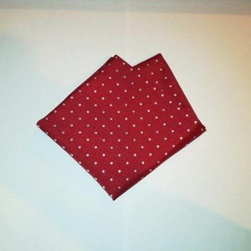 Piros alapon fehér pöttyös selyem díszzsebkendő