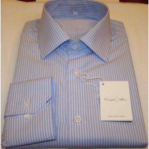 Kék alapon fehér csíkos hosszú ujjú ing
