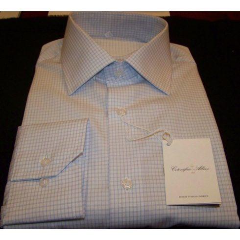 Fehér alapon világoskék kockás hosszú ujjú ing