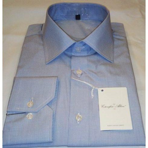 Fehér alapon kék kockás hosszú ujjú ing