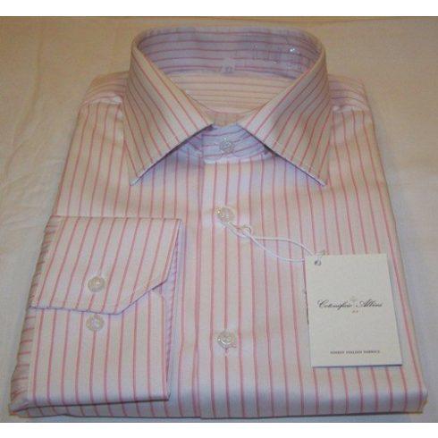 Fehér alapon rózsaszín csíkos hosszú ujjú ing