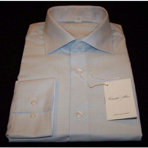 Fehér alapon világoskék mintás hosszú ujjú ing