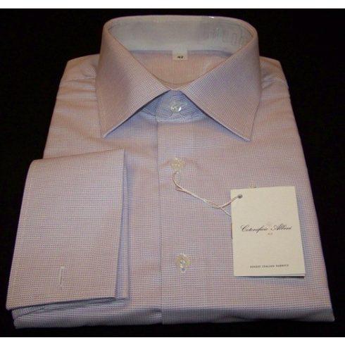 Fehér alapon világoslila mintás hosszú ujjú ing