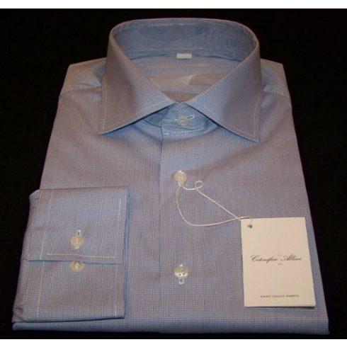 Fehér alapon kék mintás hosszú ujjú ing