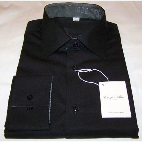 Fekete, anyagában mintás hosszú ujjú ing