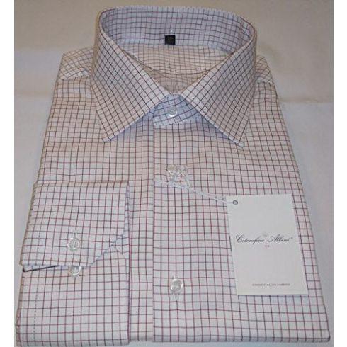 Fehér alapon bordó kockás hosszú ujjú ing