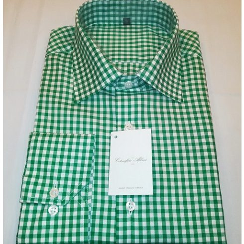 Fehér alapon zöld kockás hosszú ujjú ing
