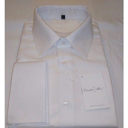 Fehér, anyagában szövött hosszú ujjú ing